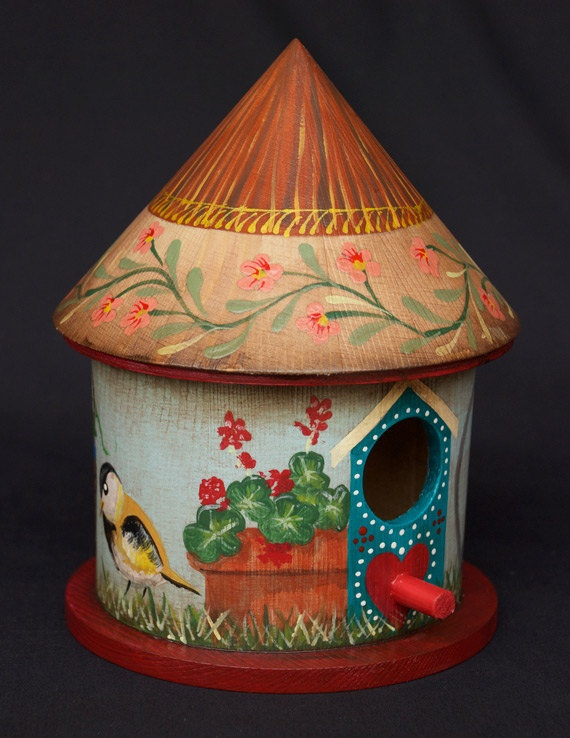 Summer Garden Birdhouse Hand Painted With Red Base, by Alan Krug of Rosemead, CA (KrugsStudio on Etsy)