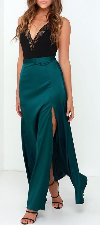 Rise of Dawn Split Second Dark Teal Maxi Skirt