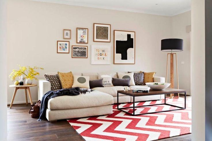 Wohnzimmer mit ecksofa teppich mit zig zag mustern und stehlampe wohnzimmerideen wohnzimmer for Stehlampe wohnzimmer design