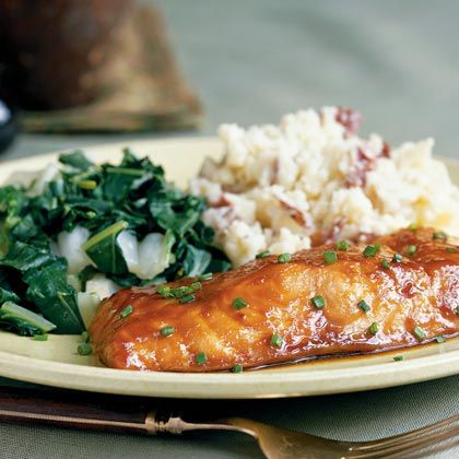 A sweet-salty miso, brown sugar, and soy sauce glaze caramelizes in about 10 minutes as it cooks atop rich, meaty salmon.