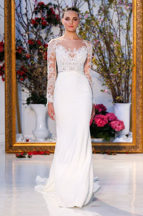 Anne Barge lace wedding dress with illusion neckline and long sleeves, Spring 2017 Bridal Collection, Bridal Fashion Week