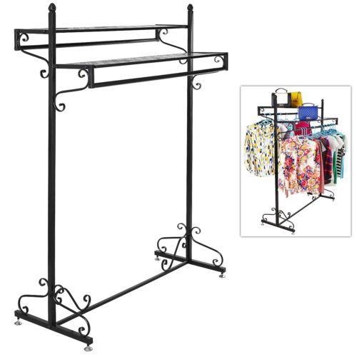 Boutique garment rack closet organizer victorian hanger stand clothes retail hang a variety of clothes with this large, 5-foot standing garment rack. Featuring 2 hangrails, this iron clothes rack is perfect for organizing shirts, pants, coats, jackets, suits, dresses, and various other apparel. Two top shelves add additional storage room to keep purses, hats, boxes, and even decorations such as flower vases and picture frames. Victorian era style design beautifully accents your bedroom or…