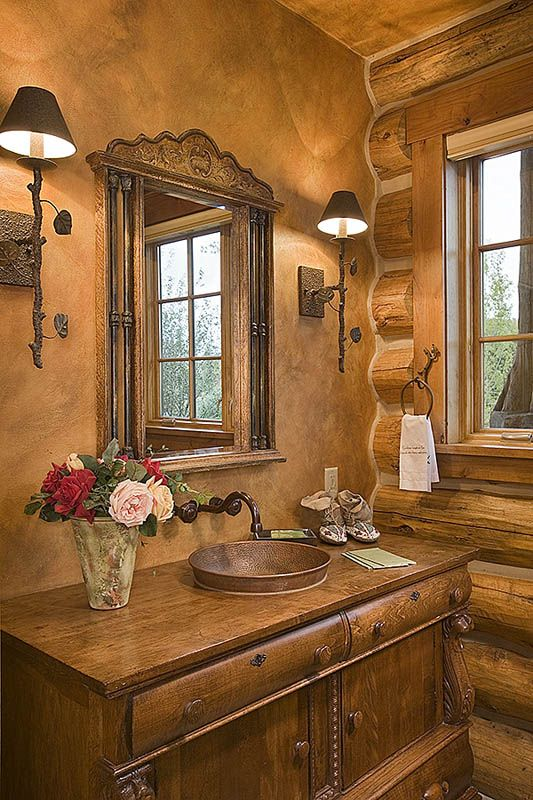 1000 images about western homestead ranch home ideas on for Log home bathroom ideas