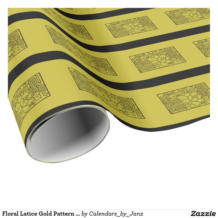 Floral Latice Gold Pattern Wrapping Paper by Janz