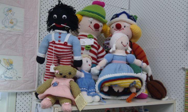 A selection of the soft knitted toys available in our shop. (Sept 2013)