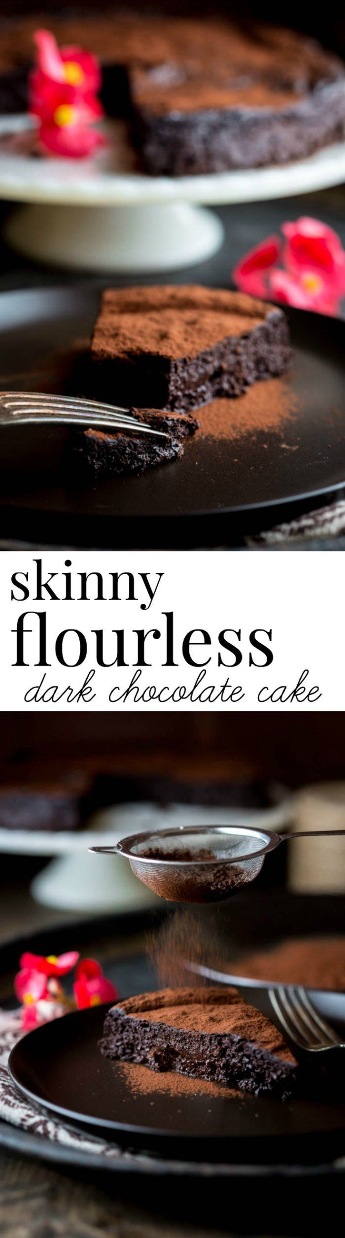 From Healthy Seasonal Recipes : This skinny flourless dark chocolate cake will satisfy your deep dark chocolate cravings with only 217 calories per serving. Gluten-free!