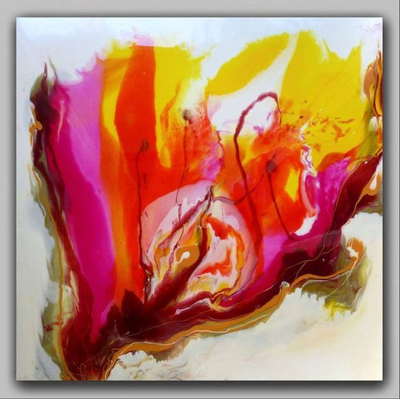 """Art Resin LARGE ABSTRACT PAINTING  """"Mysterious flower"""""""