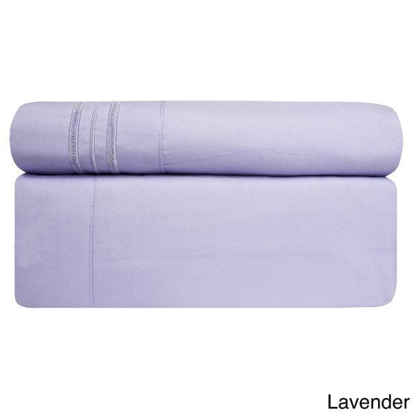 4 Piece Lavender California King Bed Sheet Set Fitted Flat Pillowcases