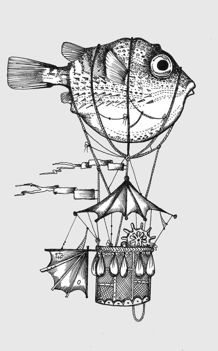 Steampunk zeppelin tattoo. Super weird tattoo idead