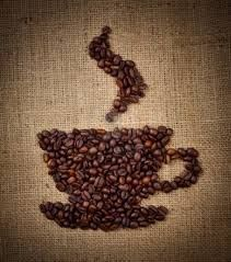Coffee beans on burlap art great idea for using old coffee beans!