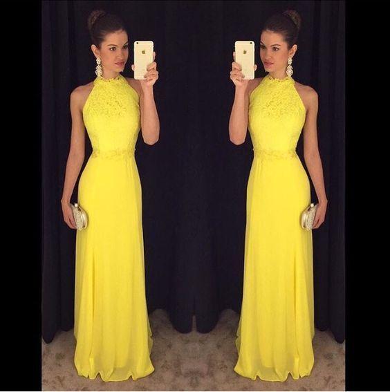 Yellow Prom Dresses,Charming Evening Dress,Yellow Prom Gowns,Lace Prom Dresses,New Prom Gowns,Yellow Evening Gown,Fashions Party Dresses by DestinyDress, $177.39 USD