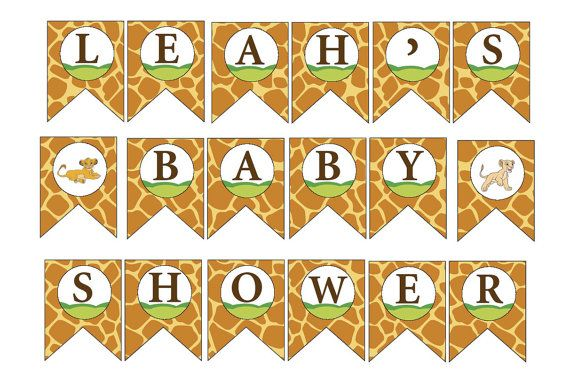 Lion King Baby Shower Custom DIY Printable Banner Thank you for visiting my etsy site. This design is for a DIY printable banner. Print and assembly is done by the purchaser. When purchasing please give the custom name that the baby shower is for.  YOU WILL RECEIVE: Each file is formatted at 8.5 x 11 -- two flags per page. In a pdf format BABY SHOWER with two lion king pictures flags Custom name Flag   Materials to put together banner - Printer and card stock - Standard hole punch - Ribbon…