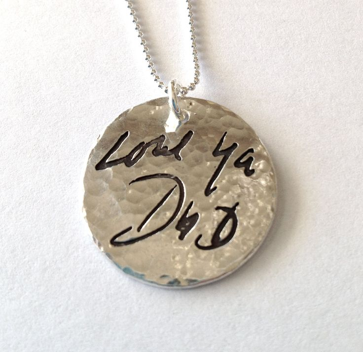 Memorial Jewelry Your Actual Loved Ones Writing by surfingsilver, I would LOVE to have one of these made with my dads handwriting someday..