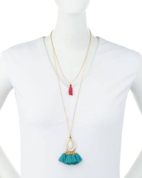 Long Layered Tassel Pendant Necklace, Multi