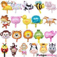 10 stks Mini Cartoon aap Leeuw Tijger Giraffe dieren hoofd folie ballonnen baby douche verjaardagsfeestje decor Safari zoo Ballons speelgoed(China (Mainland))
