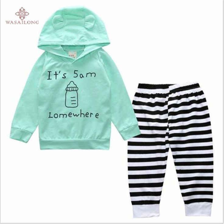 >> Click to Buy << Wasailong Spring and autumn new baby boy and girl Long sleeves with cartoon baby bottle cap word letter suits #Affiliate