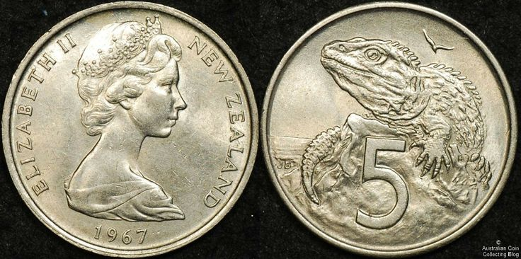 "New Zealand 1967 5 Cent ""No Sea"" Variety #coins #newzealandscoins"
