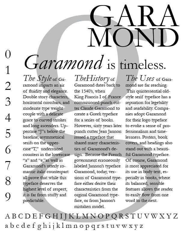 Garamond manages to be beautiful, graceful and have real character in its understated flair. And yet it never compromises its authority or practicality. It has even been found to save ink. I'm always disappointed by its italics though. For me they fail to uphold it's grace and consistency. In learned texts I needed references and titles to hold their credibility and often fell back on Sabon.