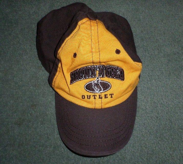 Men's BROWN & GOLD OUTLET WYOMING COWBOYS NCAA Logos Hat, Adjustable Strap, GUC #ZEPHYRTHEHATNCAAMerchandise #UniversityofWyomingCowboys