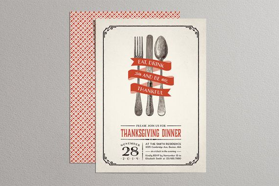 Printable Thanksgiving Invitations Vintage by plpapers on Etsy
