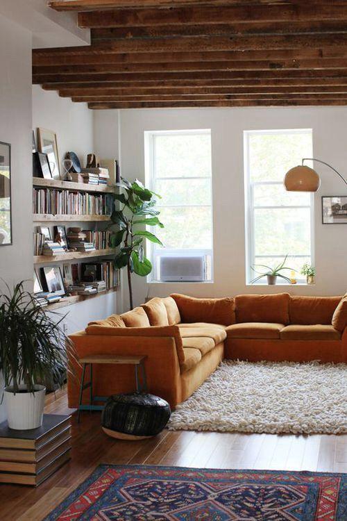 Image via We Heart It #books #cosy #lamp #light #livingroom #rug #sofa #window