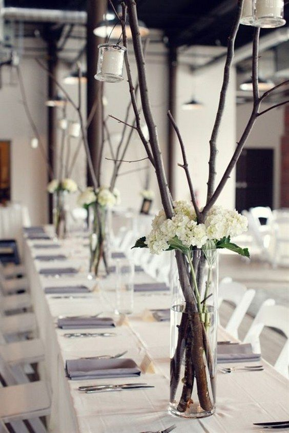 Rustic Tree Branch Wedding Centerpieces...using baby's breath and hydrangeas