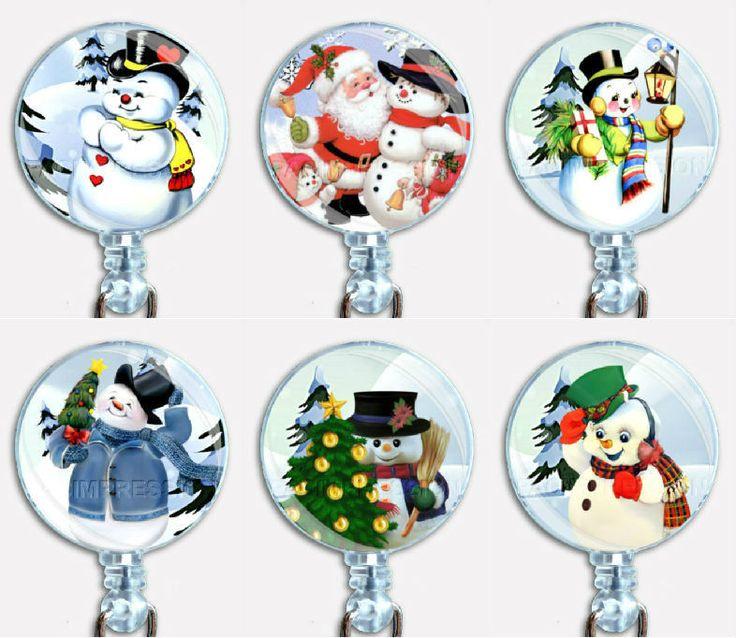 Christmas Holidays Winter Snowman Badge Reel Retractable ID Name Card Holder