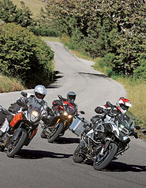 Our tough trio of adventure bikes goes head-to-head this month, both on the road and in the dirt. Click to read the comparison in the August 2014 issue of Rider magazine.