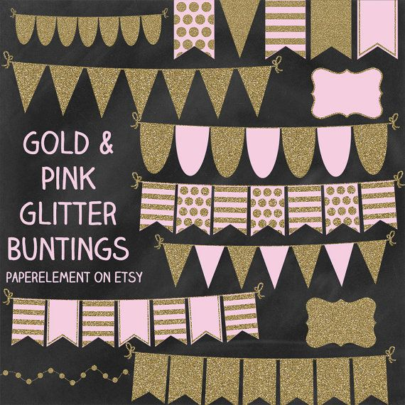 Gold Glitter Bunting Clipart: Bunting Banner Clip Art by ...
