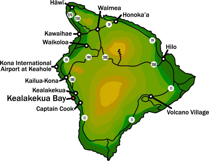 Map Showing Kealakekua Bay Hawaii The Big Island