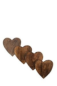 PACK 4 WOODEN HEART COASTER