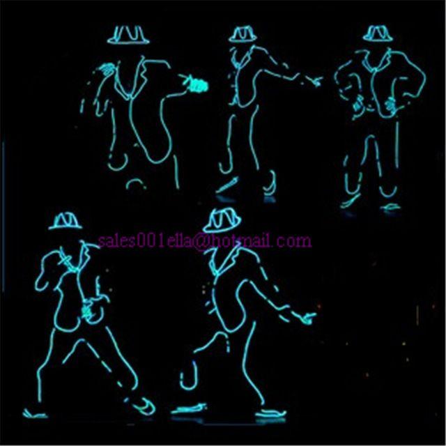Commercio all'ingrosso 5 pz/set led luminoso lampeggiante luce crescente vestito robot costume el wire, berretto, guanti e scarpe mj stile per lo spettacolo, club