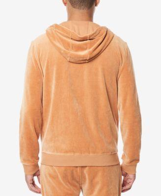 Sean John Men's Velour Zip-Front Hoodie - Tan/Beige 2XL