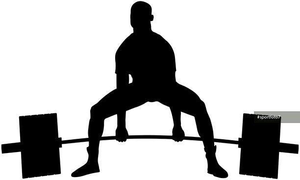 powerlifter exercise barbell deadlift in powerlifting competitions black silhouette