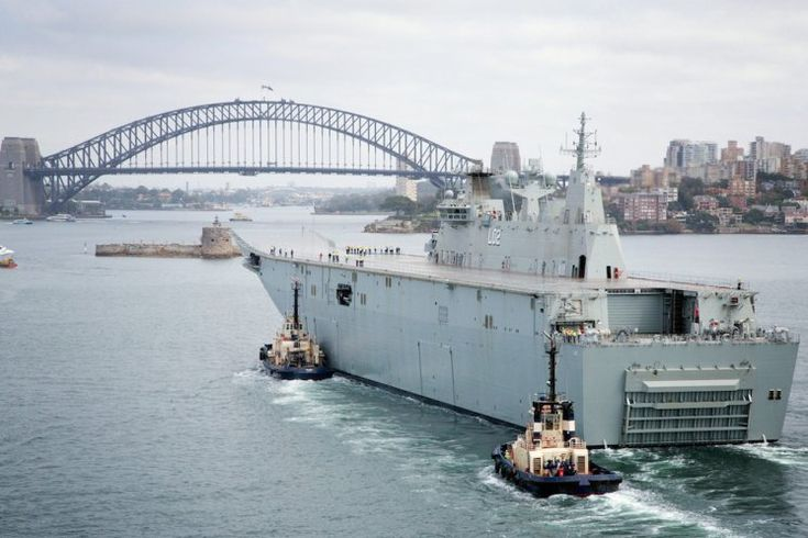 The largest ship ever built for the Royal Australian Navy, Landing Helicopter Dock NUSHIP Canberra, entered Sydney Harbour for the first time during the contractor sea trials and testing program.    (photo: ABIS Tom Gibson)