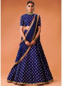 Royal Blue raw silk lehenga choli