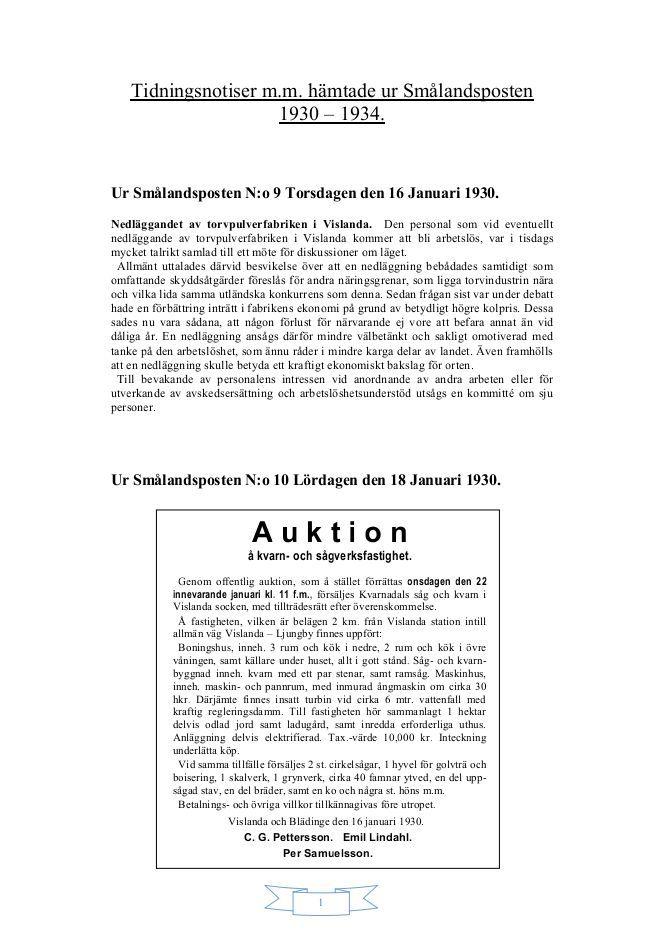 Tidningsnotiser m.m. ur Smålandsposten 1930–1934 - Vislanda ... https://www.yumpu.com/sv/document/view/20462510/tidningsnotiser-mm-ur-smalandsposten-1930-1934-vislanda-