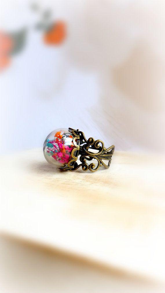 Anello di natura anello regalo Mini terrario di FlowerGiftByNature