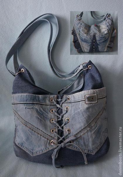 Сумка джинсовая двусторонняя-1 - синий,однотонный,джинсовый стиль,джинсовая сумка