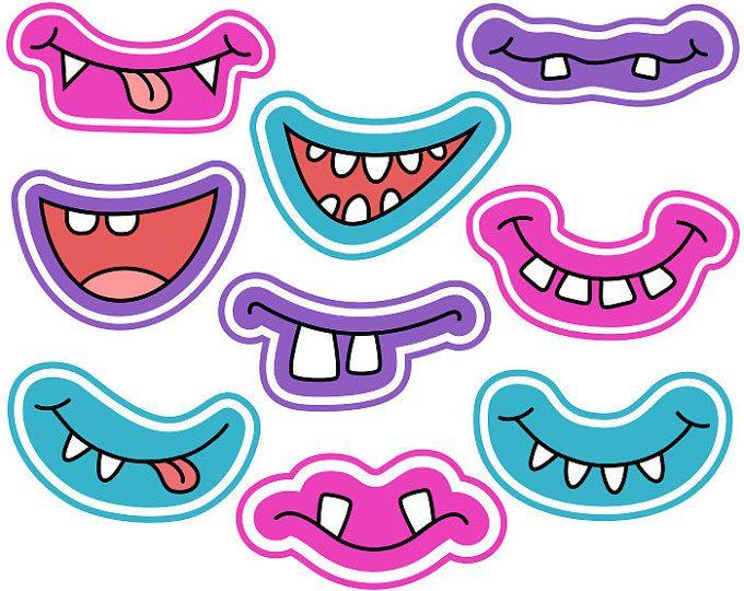 Girly Monster Grins Digital Clip Art, mostro sveglio sorrisi, da ragazzina mostro facce, Photo Printable Booth puntelli - Instant Download - YDC139