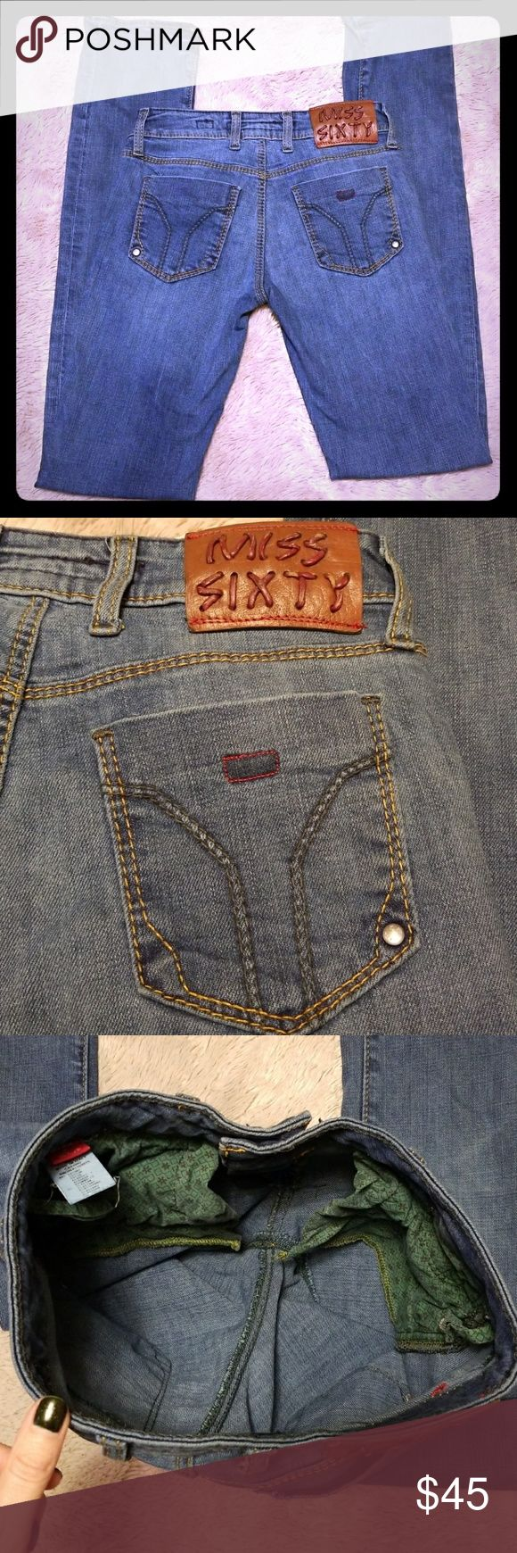 """Miss Sixty 60 size 26 Eden jeans Excellent used condition! When laid flat: Waist: 13"""" Rise: 7.5"""" Inseam: 32.5""""  Make an offer, feel free to ask any questions! Miss Sixty Jeans"""