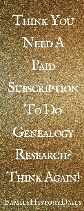 Genealogy Help: You don't need a paid subscription to do family history research. Grow your family tree with free genealogy sites!