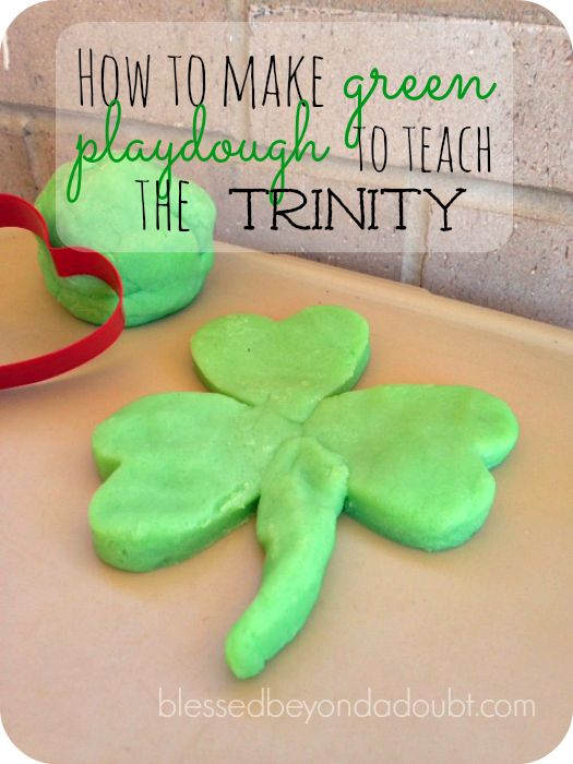 Make this easy green playdough and teach the Trinity! So simple, but effective!