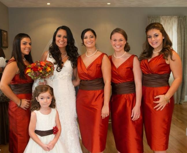 Bridesmaids Dresses Were Silk Shantung Siri Dress In A Burnt Orange Color Called Paprika And Waist Was Chocolate Brown I Like The Colors But Want Them