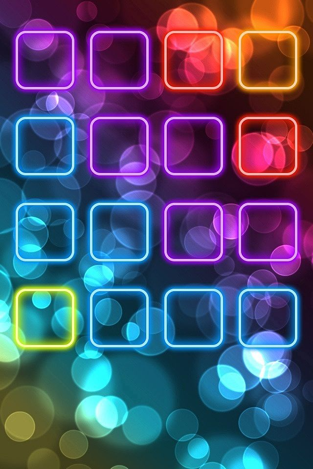Neon IPhone 4 Icon Frame Wallpaper