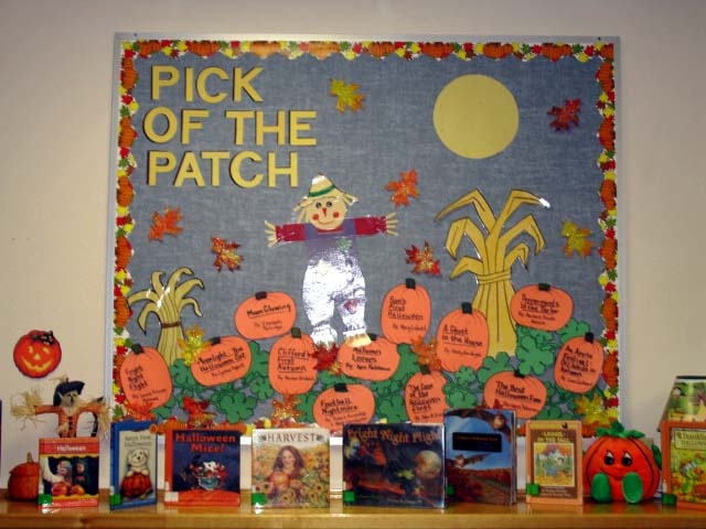 Seasonal bulletin boards for an elementary library