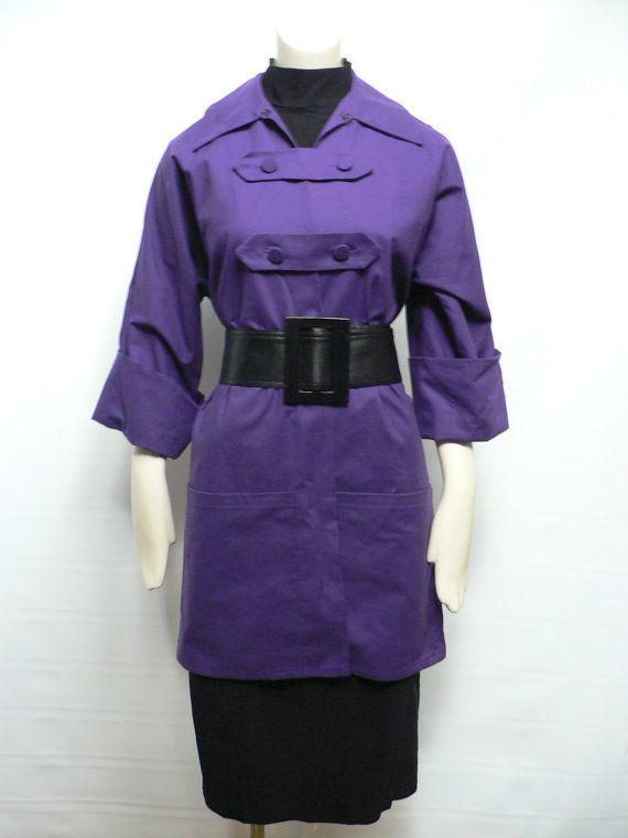 vintage 1940s women's purple smock top /