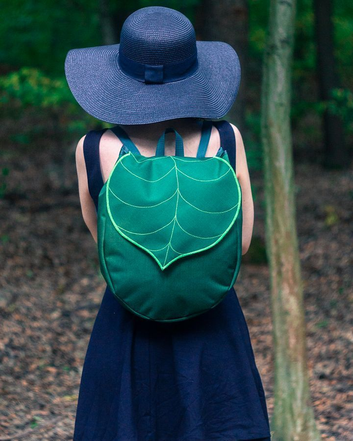 Army green Leaf mini backpack Waterproof vegan backpack