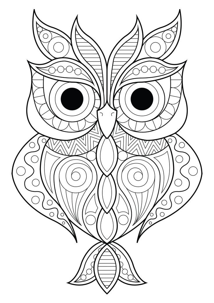 Owl Simple Patterns 2 Owls Coloring Pages For Adults Just Color Owl Coloring Pages Animal Coloring Pages Mandala Coloring Pages
