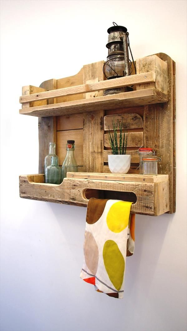 pallet kitchen decorative and functional shelf